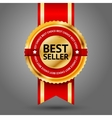 Premium golden and red best seller label with vector