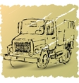 Sketch of a truck on a brown background vector