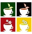Colorful square tea labels composition vector