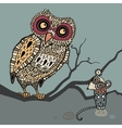 Decorative owl and mouse cartoon vector