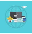 Flat modern icons on sample background vector
