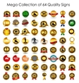 Mega collection set of 64 quality label signs vector