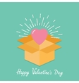 Big pink shining heart in the box flat design vector