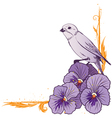 Border with violet pansies and bird vector