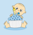 Baby boy birthday cake vector