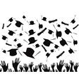 Students graduating and tossing caps vector