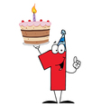 Number one holding up a first birthday cake vector