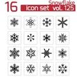 Black snowflake icons set vector