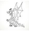 Fairytale magical dragon in outlines for coloring vector