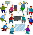 Workers loaders stands objects vector