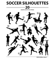 Silhouettes soccer players vector