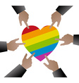 People hands used to point the gay flag on heart vector