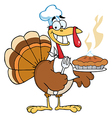 Happy turkey chef with pumpkin pie vector