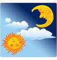 Sun and moon on sky background vector