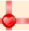Gift ribbon with red heart vector