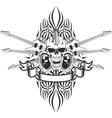 Skull crossed guitars and pattern vector