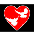 Doves in heart vector