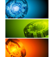 Abstract hi-tech banners vector