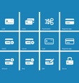 Credit card icons on blue background vector