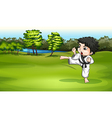 A young boy practicing karate near the river vector
