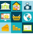 Set flat business commerce icons design con vector
