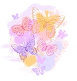 Colorful grunge background with butterfly vector
