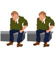 Happy cartoon man sitting on gray bench vector