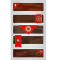 Set of leather premium quality labels and emblems vector