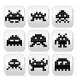 Space invaders 8bit aliens buttons set vector