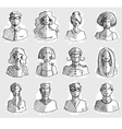 Characters design hand drawn icons faces sketch vector