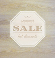 Summer sale label with wooden background vector