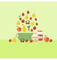 With fruits and coooking jars of jam vector