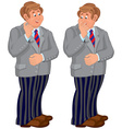 Happy cartoon man standing in striped pants vector