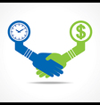 Handshake between men having time and money vector