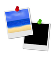 Photo frame with beach and empty photo frame vector