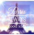 Paris typographic design on blurred eiffel tower vector
