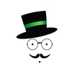 Mustache face with hat color vector