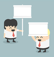 Businessman holding a white sign vector