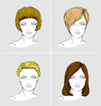 Faces of four women with different hair styles vector