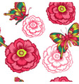 Seamless pattern with decorative flowers and vector