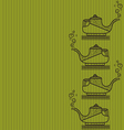 Pattern of silhouette of teapot on a lime backgrou vector