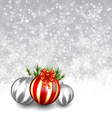 Snow background with christmas balls vector