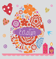 Easter post card with a set of flower elements vector