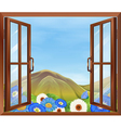 A window with flowers outside vector