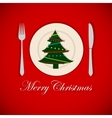 Christmas tree on a platter vector