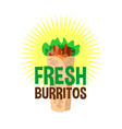 Fresh burrito logo snack bar signboard vector