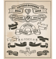 Retro vintage scroll and banner set vector