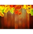 Autumn leaves over old wooden plus eps10 vector
