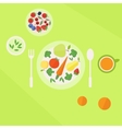 Plate with vegetables fruits and glass of juice on vector