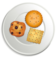 A plate with biscuits vector